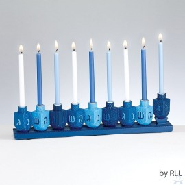 Menorah Resin Blue Dreidels Hand-Painted