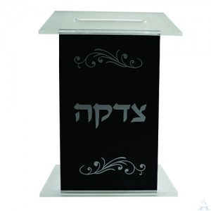 Tzedakah Box Lucite - Black