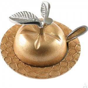 Aluminum Honey Dish - Apple / Gold