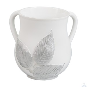 Wash Cup Polyresin White Leaf