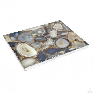 Blue Agate Challah Board With Silver Trim