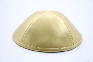 Kippah Gold Leather