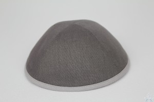 Kippah Grey Linen with Grey Rim