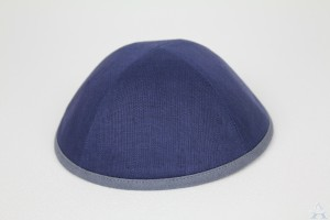 Kippah Navy Linen with Blue-Grey Rim