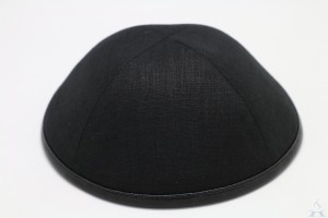 Kippah Black Linen/Leather Rim