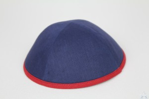 Kippah Navy Linen/Red Rim