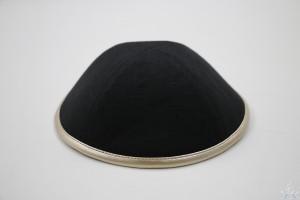 Kippah Black Linen Rose Gold Rim