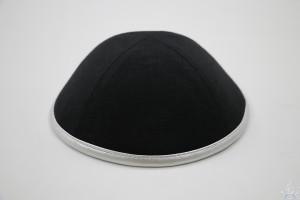 Kippah Black Linen Silver Rim