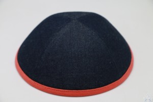 Kippah Denim Orange Rim