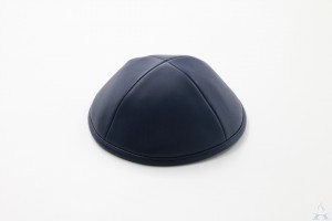 Kippah Navy Leather