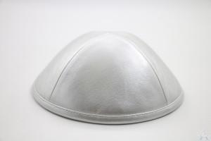 Kippah Silver Leather
