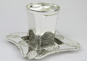 Kiddush Cup & Tray Filigree - Silverplated