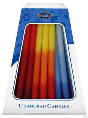 Chanuka Candles - Blue / Red / Orange