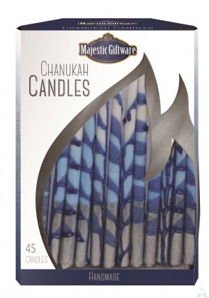 Chanuka Candles Blue/Wht/Silve