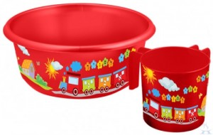Wash Cup Bowl Gift Set Red