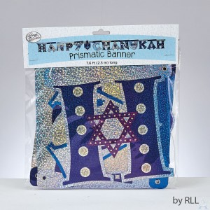 """Happy Chanukah"" Blue/Silver Prismatic Banner"