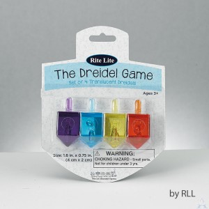 """The Dreidel Game"" - Set of 4 Translucent Dreidels"