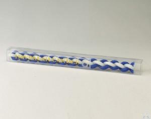 Beeswax Havdalah Candle - Round, Blue & White