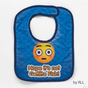 """Hope It's Not Gefilte Fish"" Printed Emoji Bib"