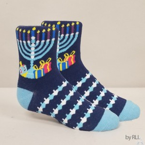 """Chanukah """"Ugly Sweater"""" Youth Crew Socks"""